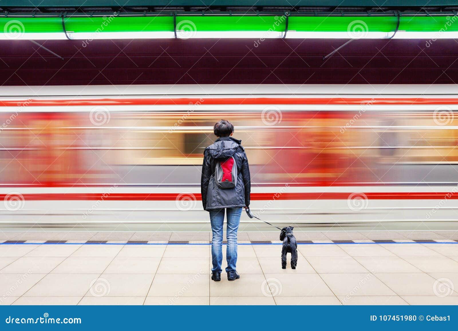 有狗的妇女在与模糊的移动的火车的地铁站