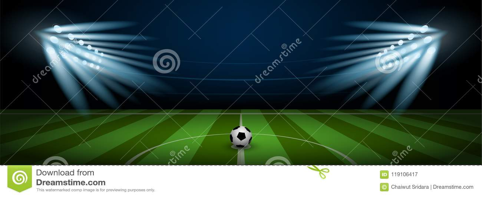 有现实橄榄球的空的橄榄球场竞技场体育场在中心和体育场聚光灯