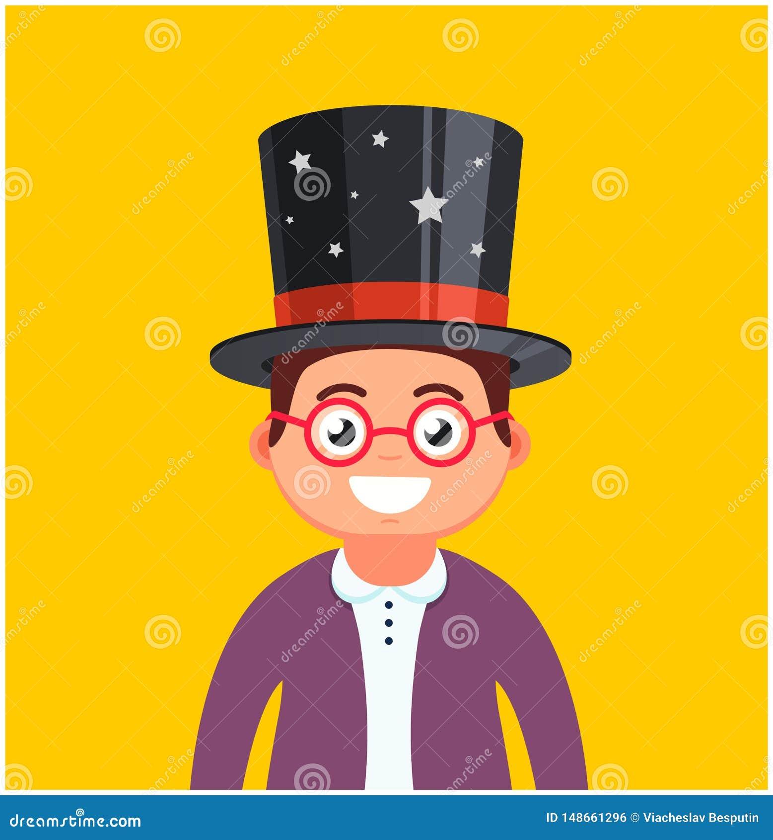 有玻璃和一个帽子的年轻人在黄色背景 男性魔术师微笑 m