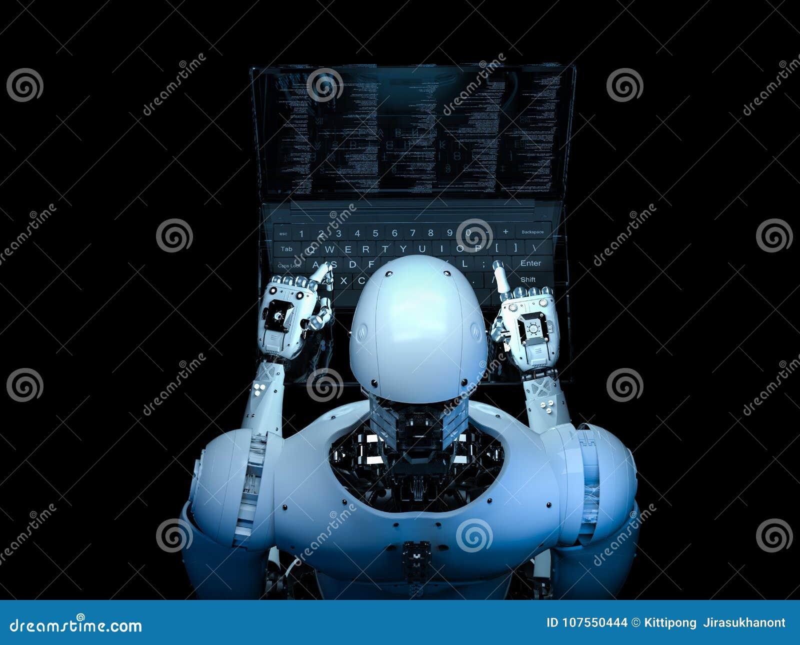 有玻璃膝上型计算机的机器人