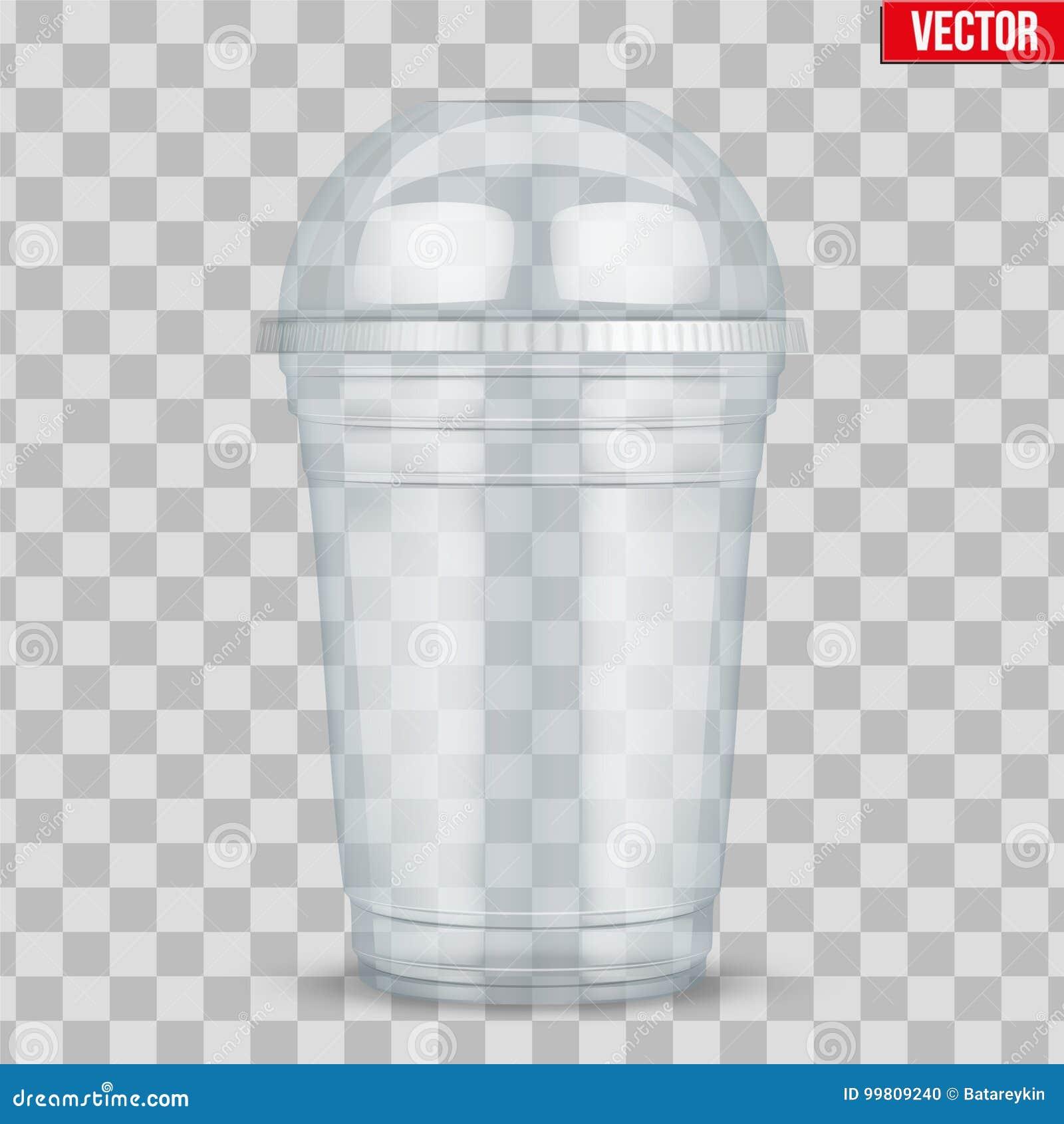 有球形圆顶盖帽的清楚的塑料杯子