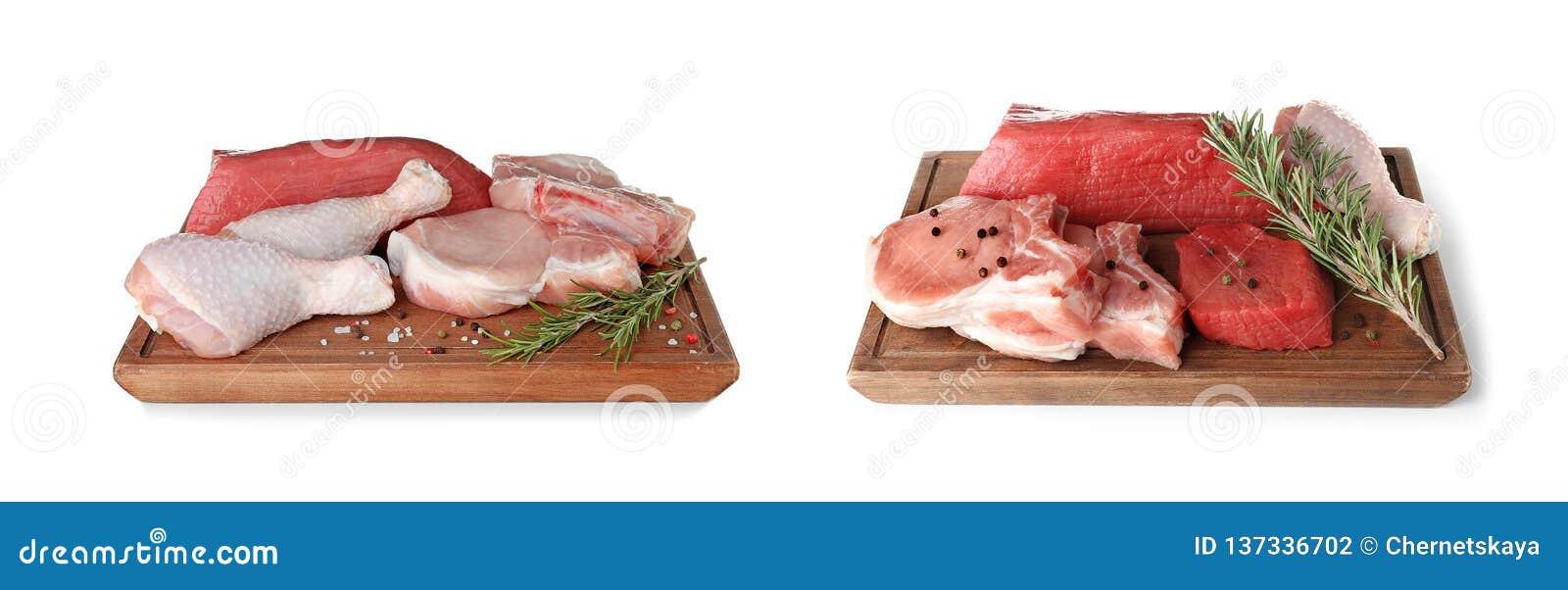 有生肉不同形式的两个木切板