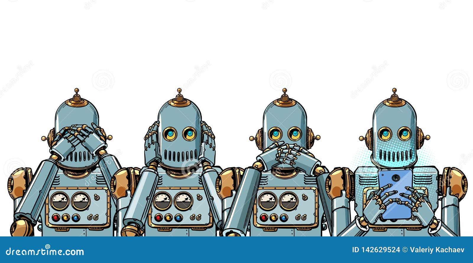 有电话的,互联网瘾概念机器人 在空白背景的孤立