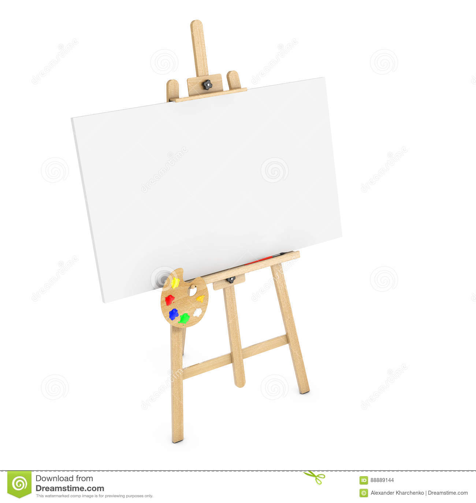 有白色嘲笑的木艺术家画架帆布和调色板 3d关于