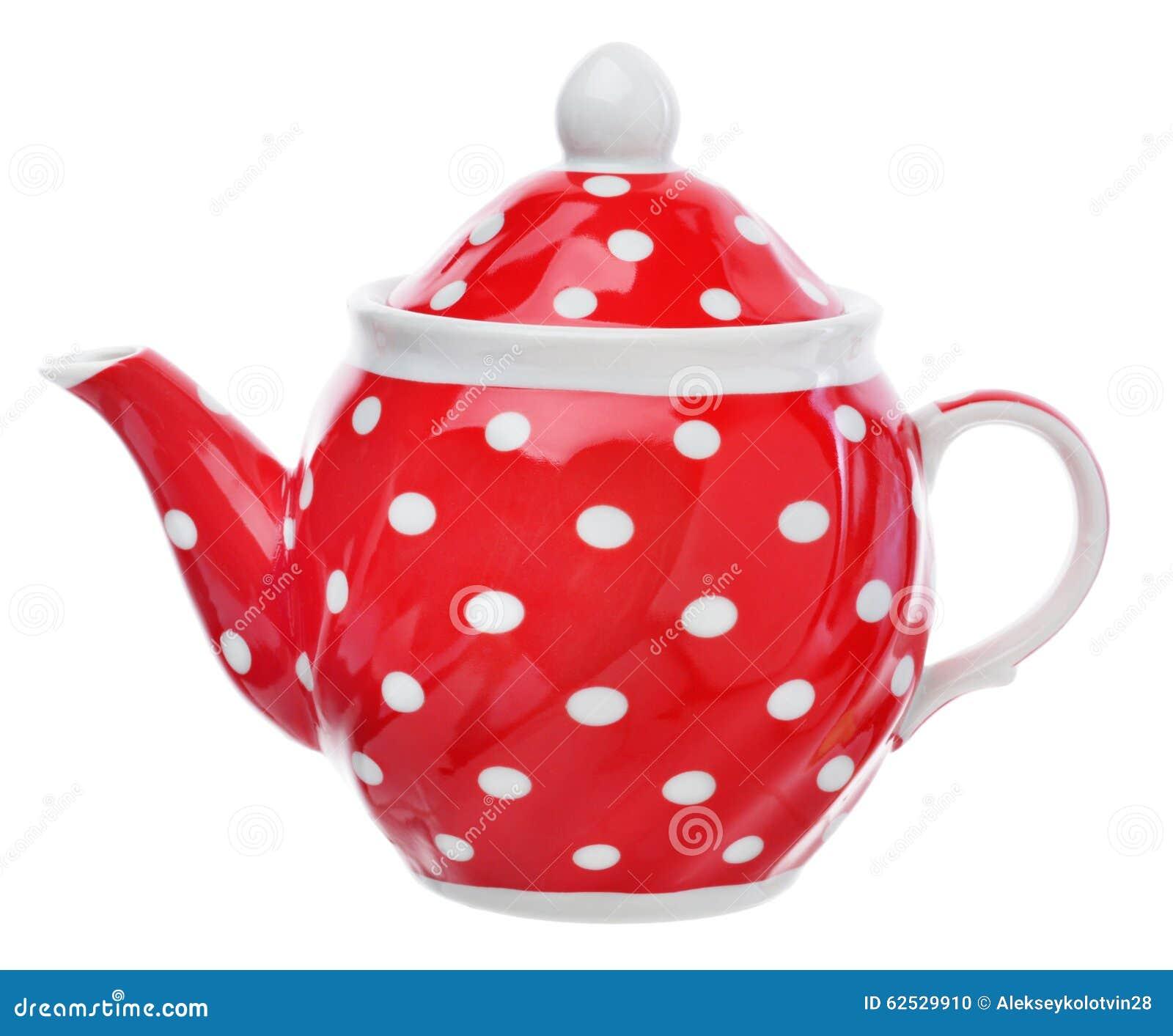 有白色圆点的红色茶壶