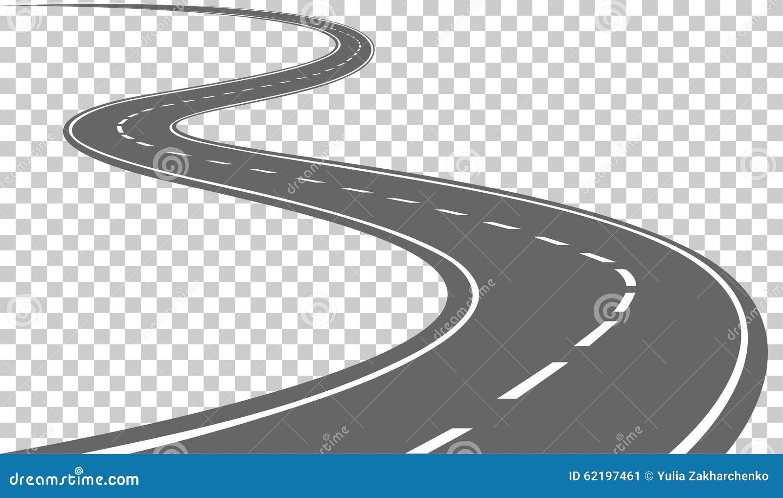 有白色标号的弯曲的路