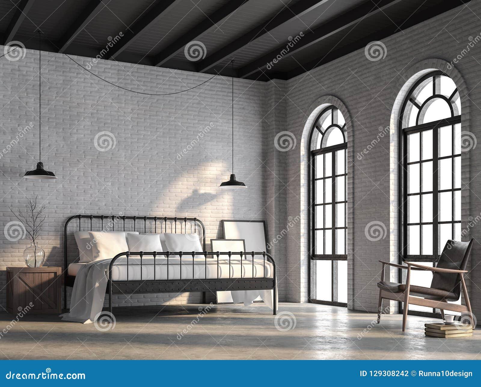有白色砖墙的3d顶楼卧室回报