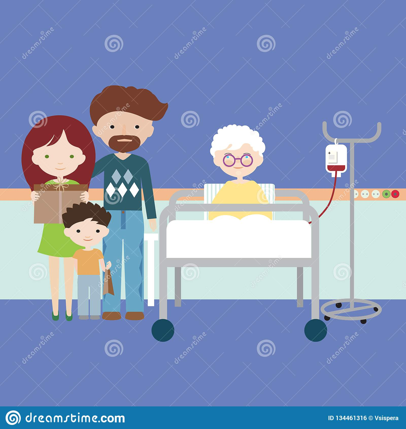 有的老妇人或的祖母在医院病床上和人为营养,有孩子的家庭的静脉内注入和