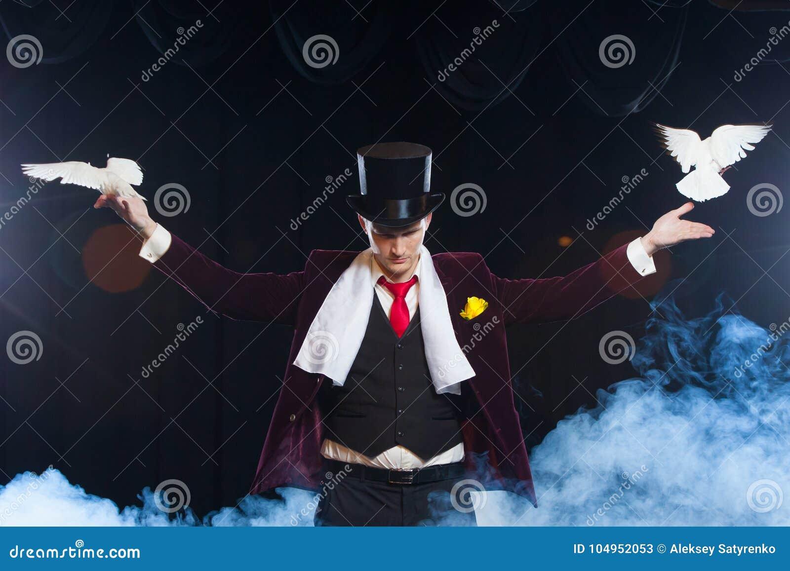 有的魔术师两只飞行的白色鸠 在一股美丽的神奇烟覆盖的黑色背景