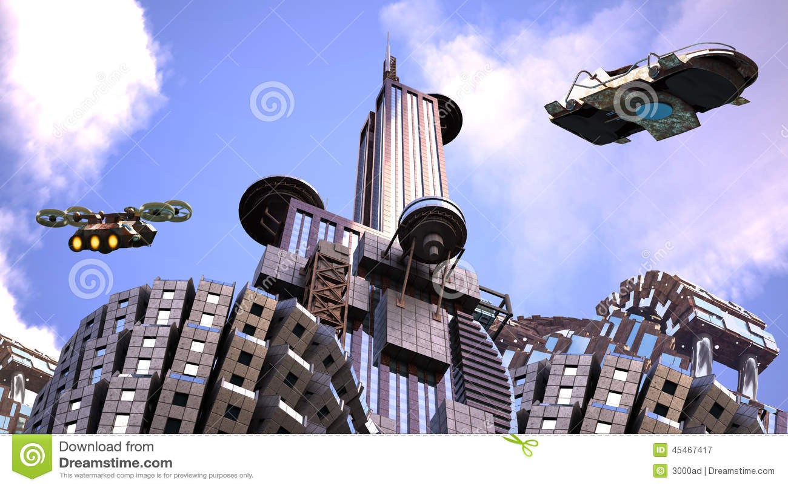 有监视雄蜂的未来派城市