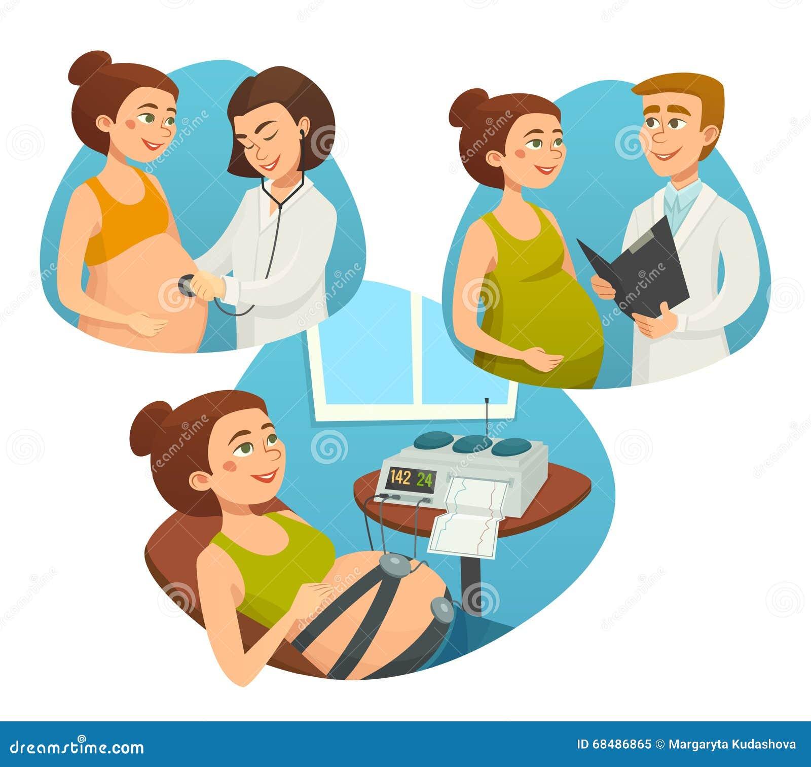 有监视医生的,怀孕,传染媒介动画片例证产前孕妇