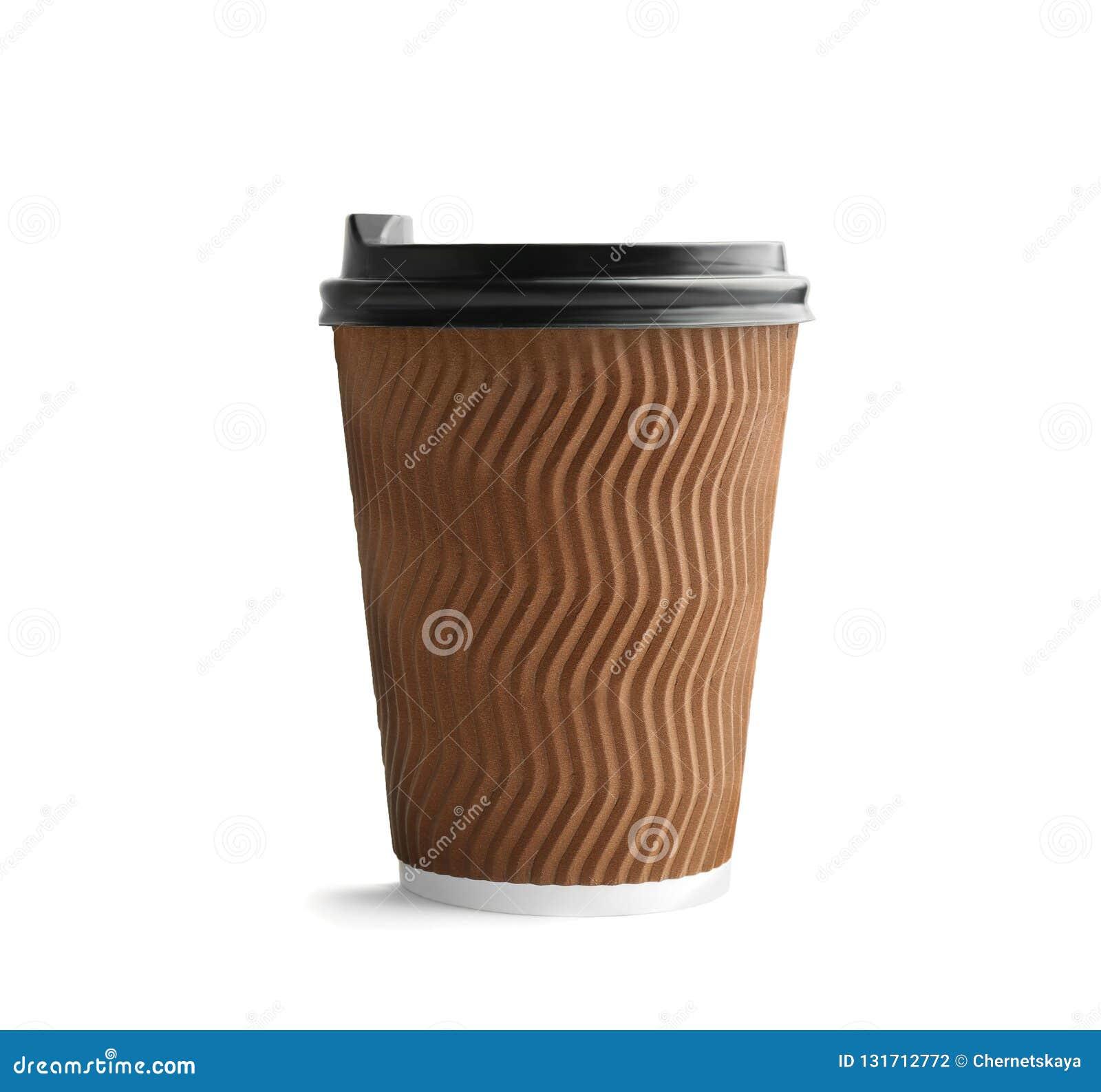 有盒盖的外带的纸咖啡杯在白色背景