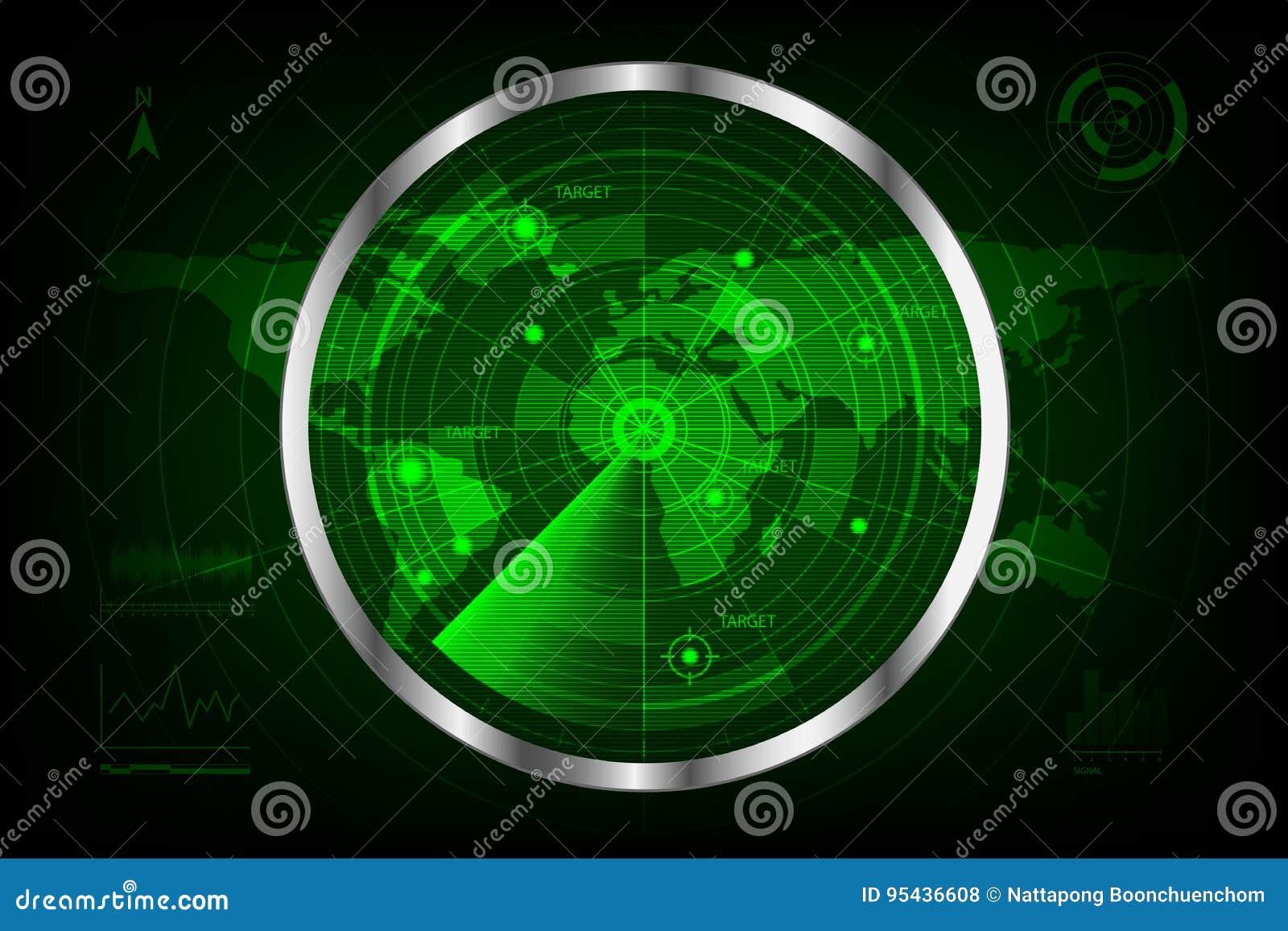 有目标和世界地图的数字式绿色雷达