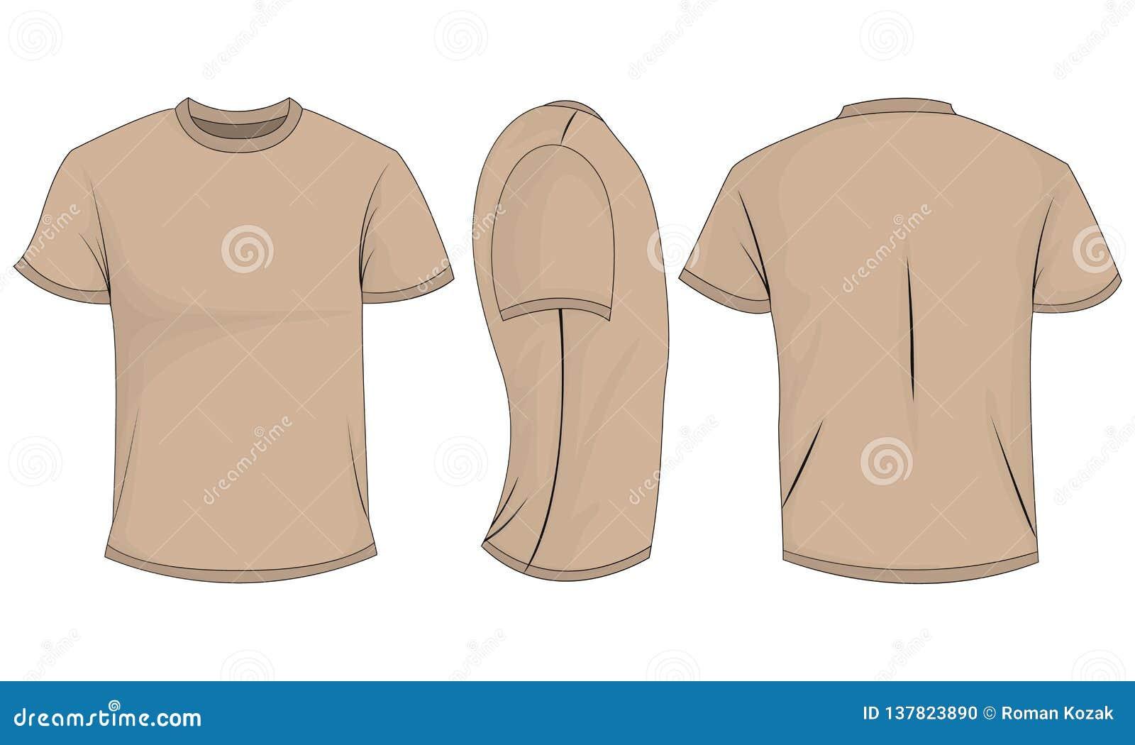 有短袖的米黄T恤杉人的 前面,后面,侧视图 背景查出的白色
