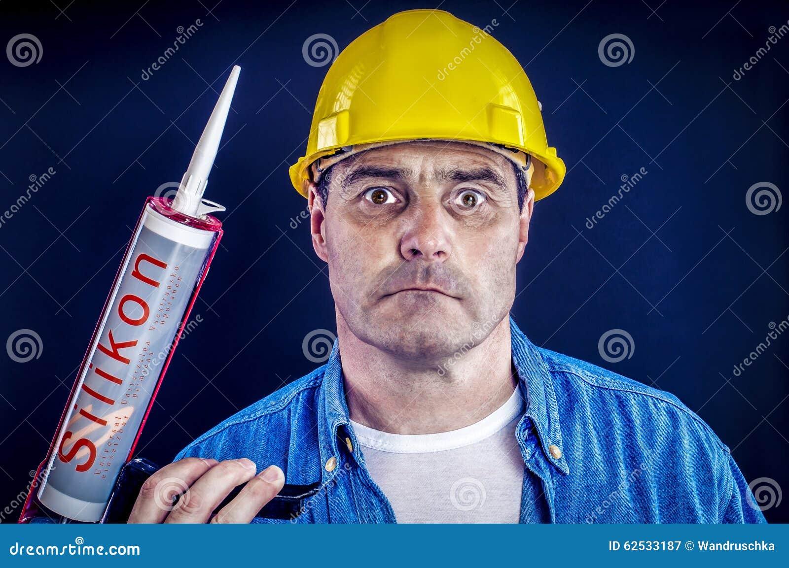 有硅树脂的建筑工人