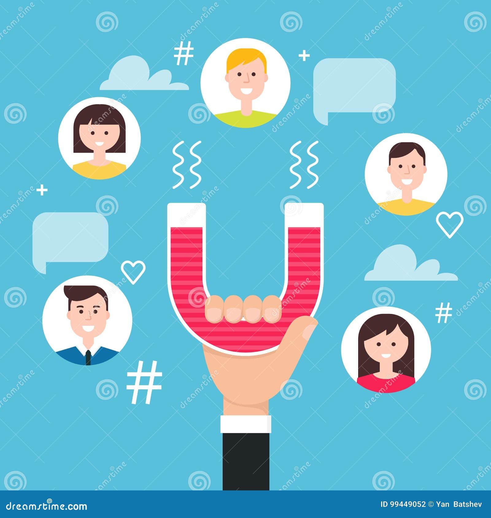 有磁铁允诺的追随者的手 概念社会营销媒体 也corel凹道例证向量