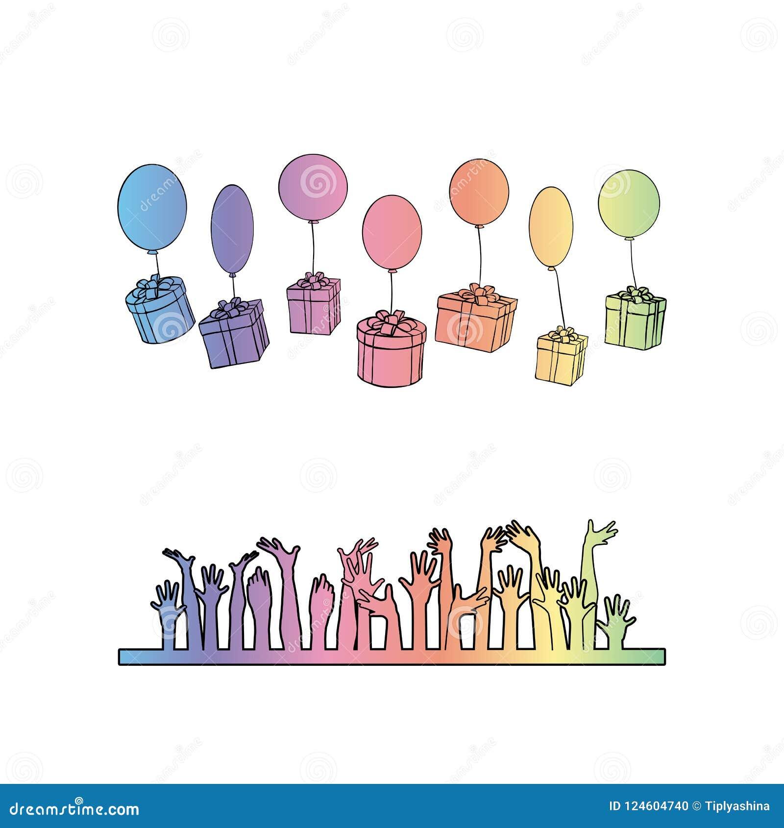 有礼物的箱子在气球落入人的手
