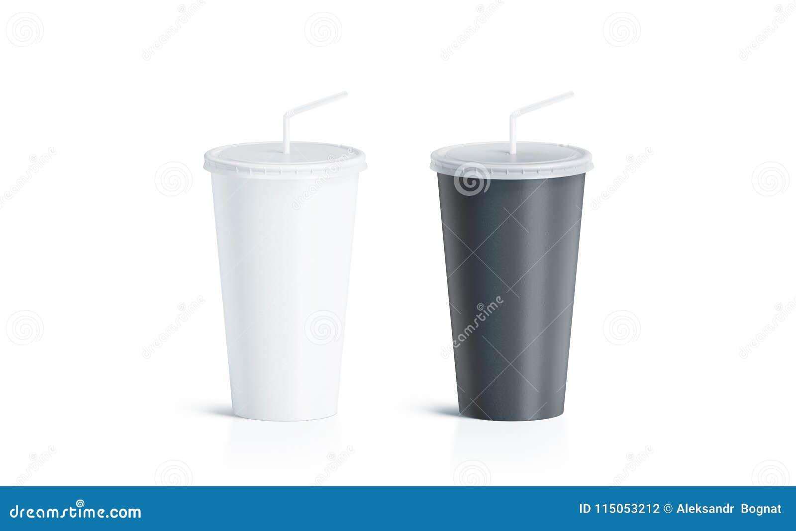 有秸杆嘲笑的空白的黑白一次性杯子