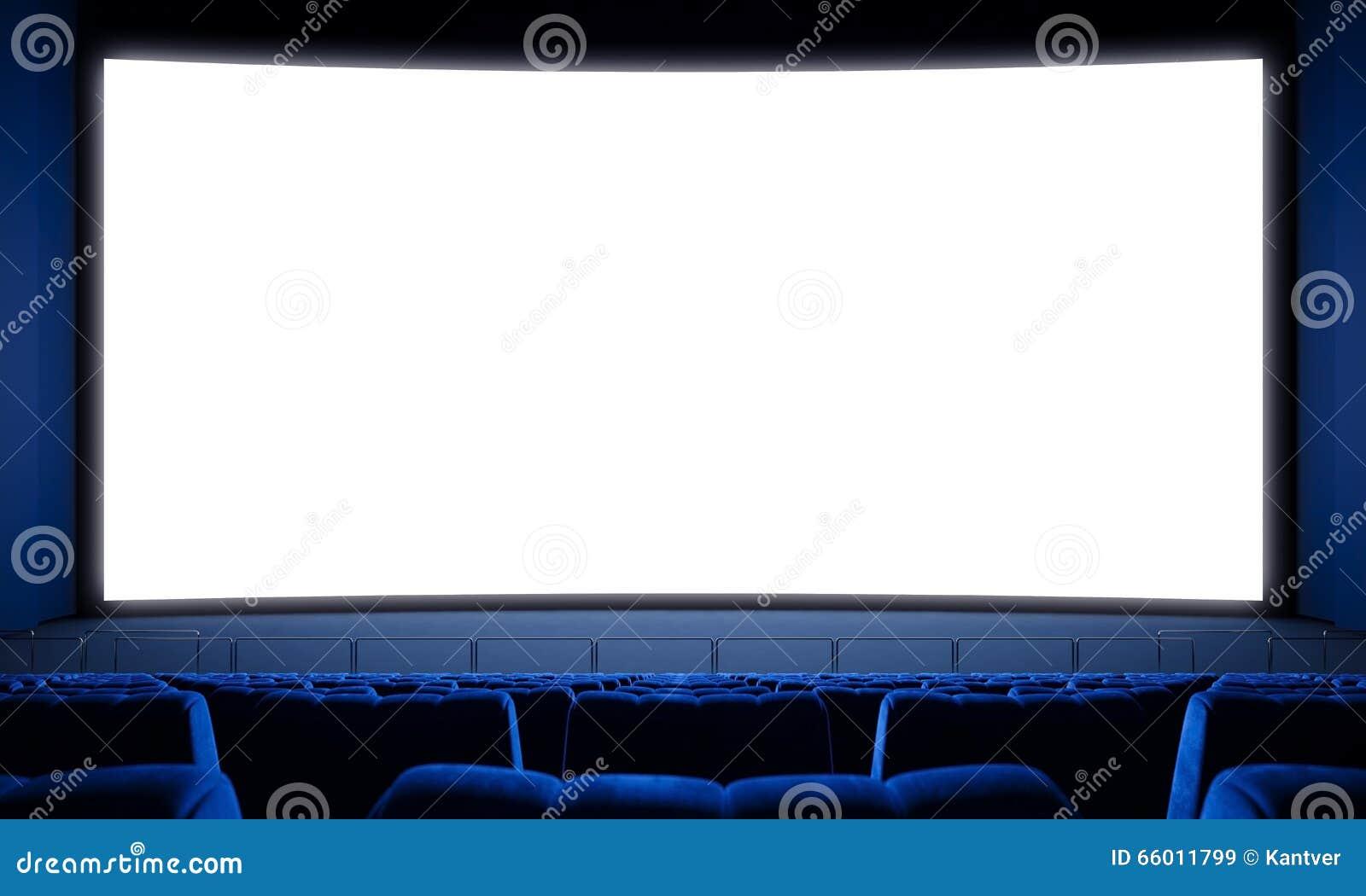 电影院屏幕_有空位和大白色屏幕的电影院.