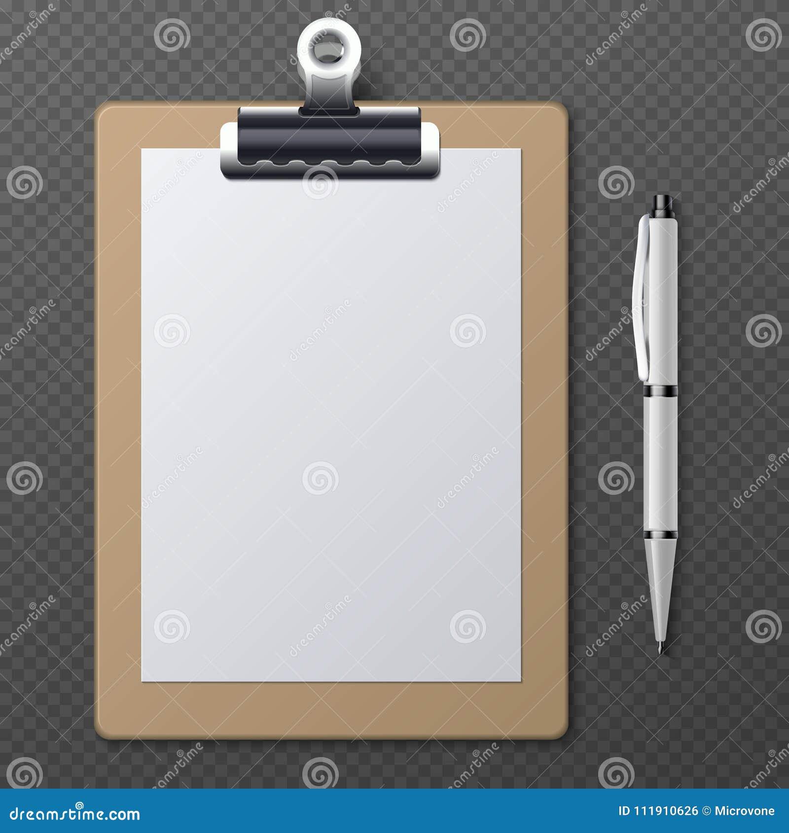 有空白的白皮书板料和笔的现实剪贴板 传染媒介企业模板