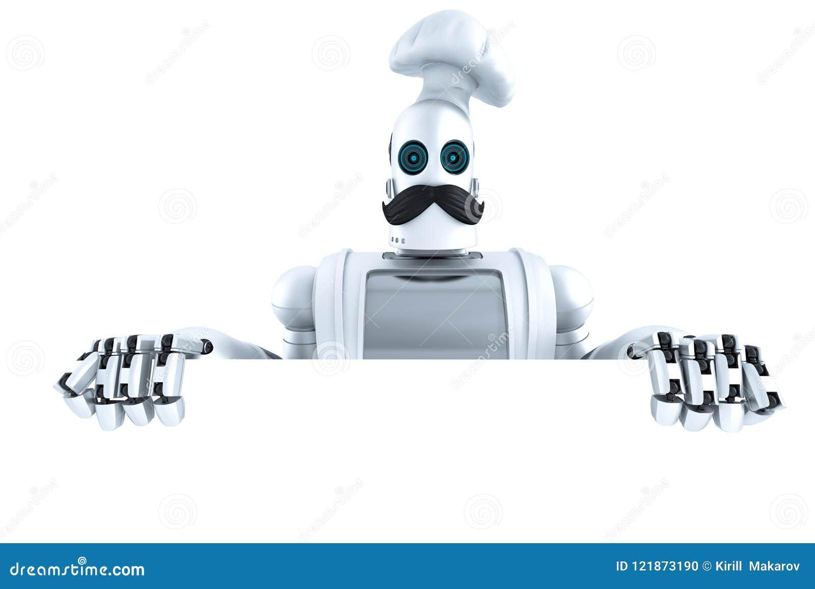 有空白的空的委员会的机器人厨师 3d例证 查出 Co