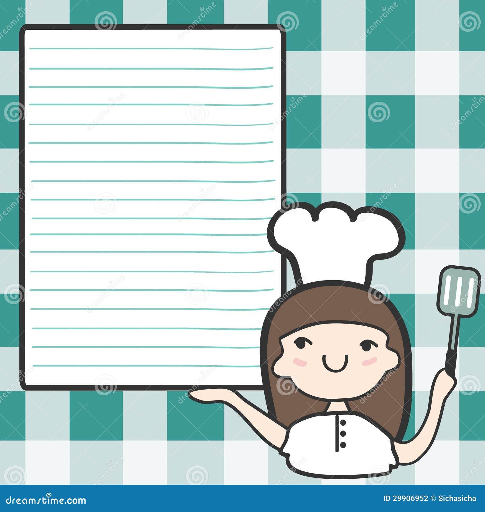 有空的空间的逗人喜爱的女孩厨师,动画片例证.图片