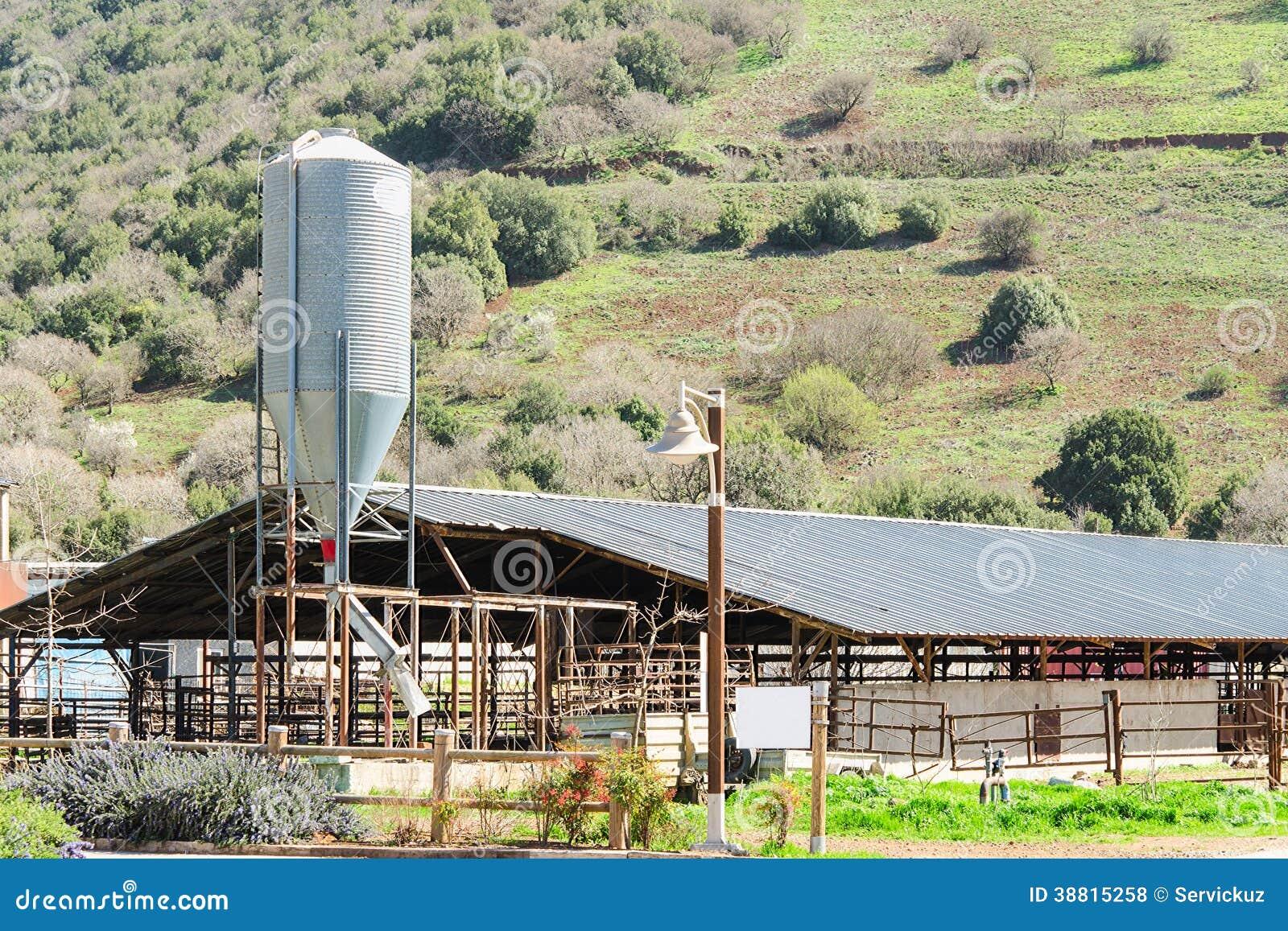 有筒仓的土气牛棚在反对春天开花的小山的乡下.图片