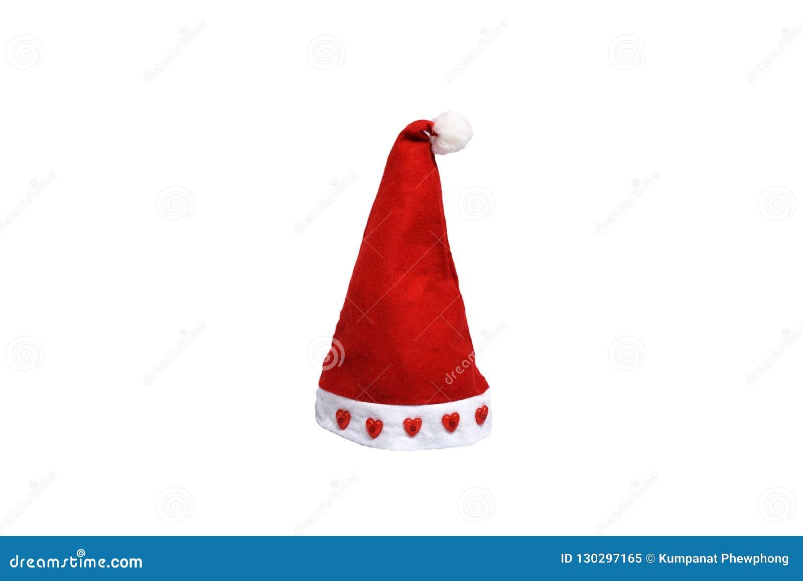 有红心的在毛皮,圣诞快乐节日,被隔绝的白色背景平直的圣诞老人帽子