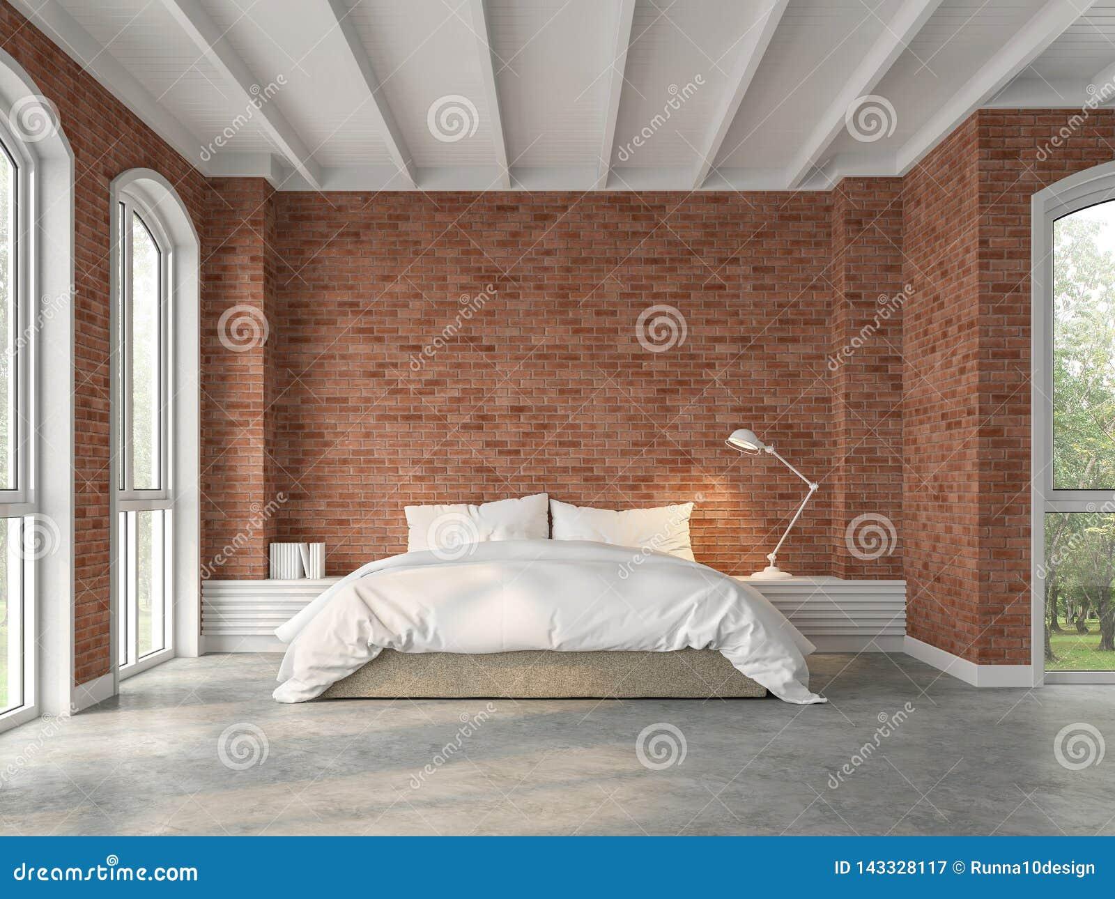 有红砖墙壁的3d现代顶楼卧室回报