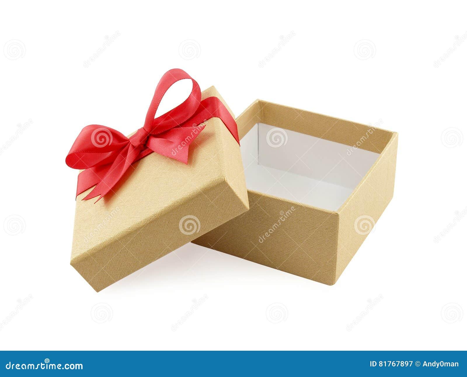 有红色丝带弓的开放和空的金黄礼物盒