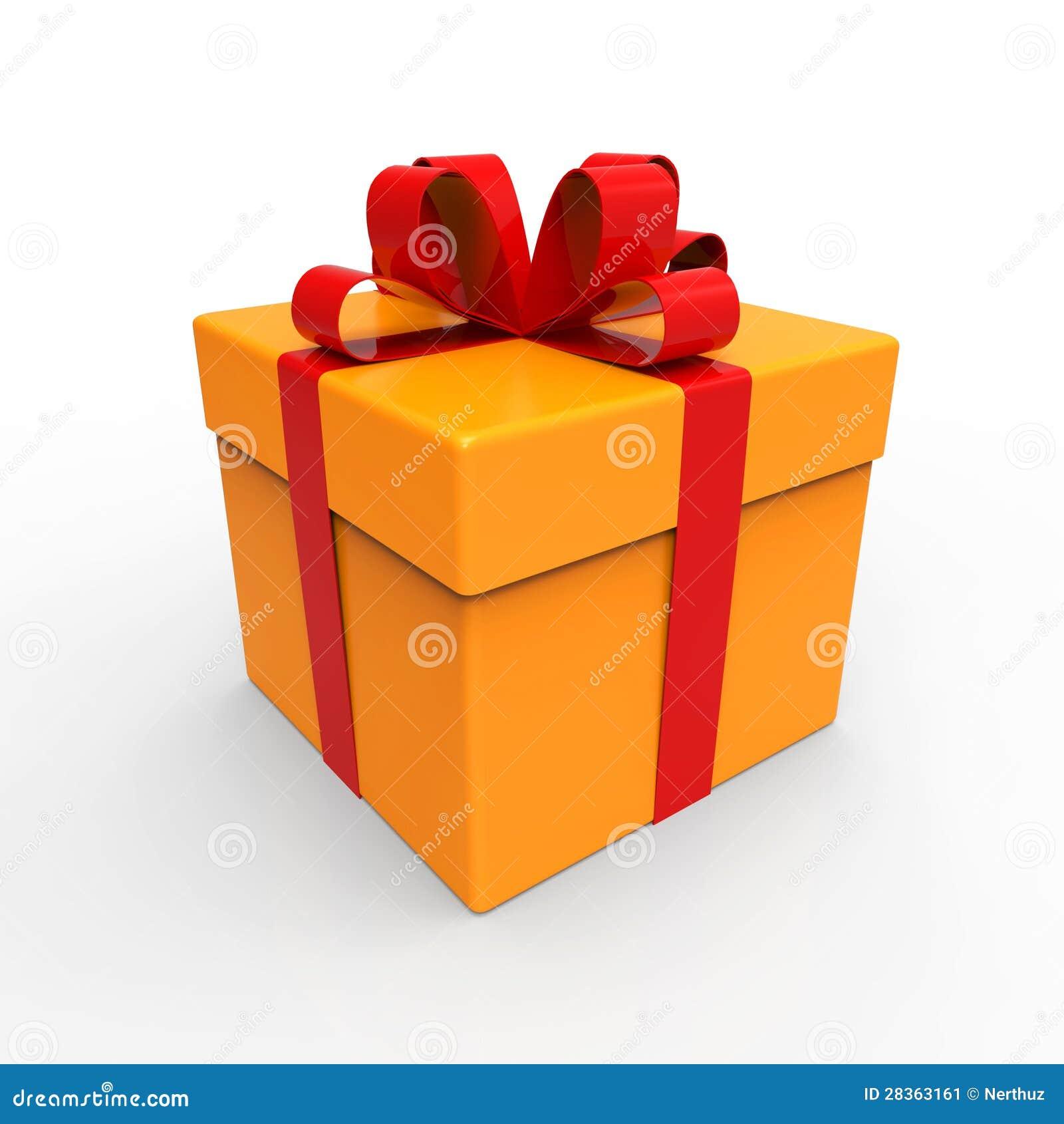 有红色丝带的橙色礼物盒在白色. 3d回报.