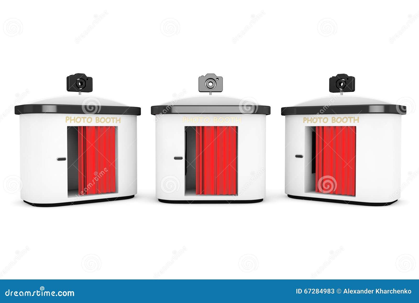 有红色帷幕的照片摊