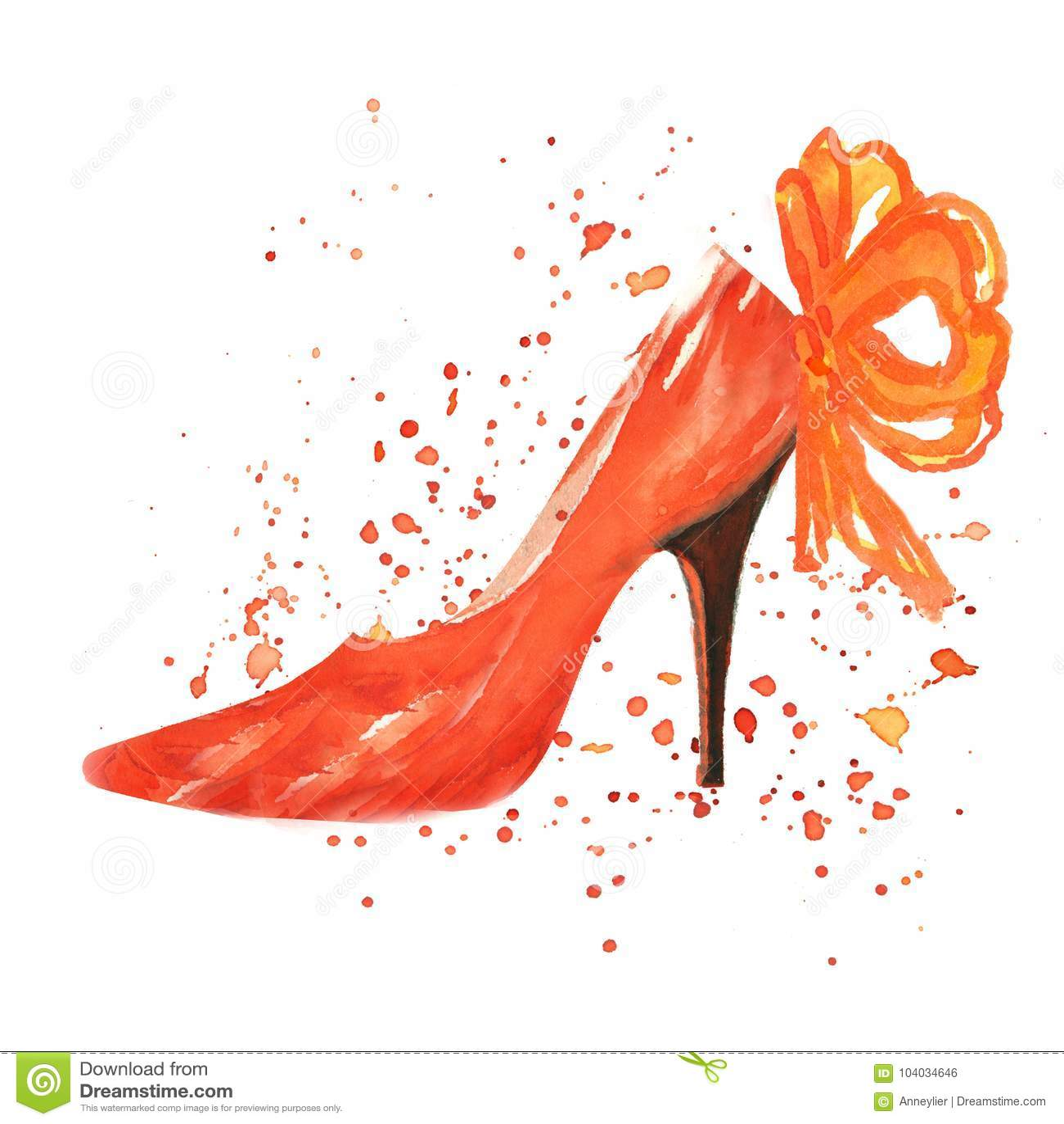 有红色弓的水彩红色鞋子