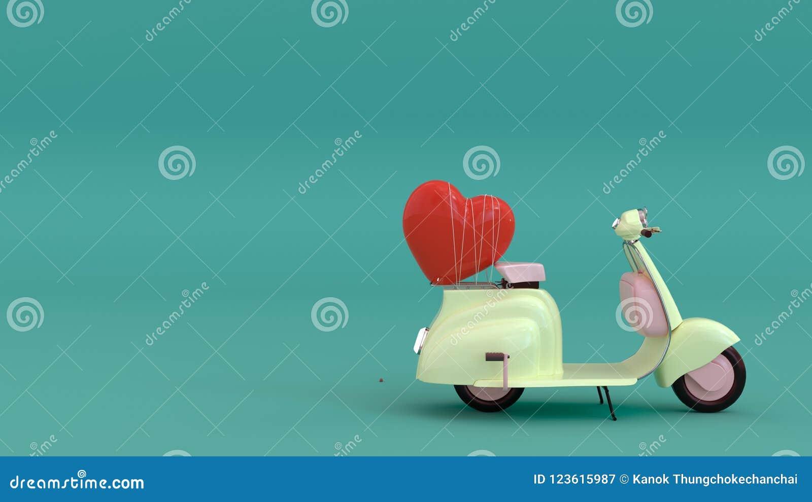 有红色心脏的经典摩托车,来充满爱,坠入爱河, 3d例证,全心全意地爱您