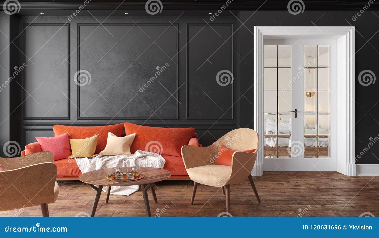 有红色沙发和扶手椅子的经典黑内部客厅 例证嘲笑