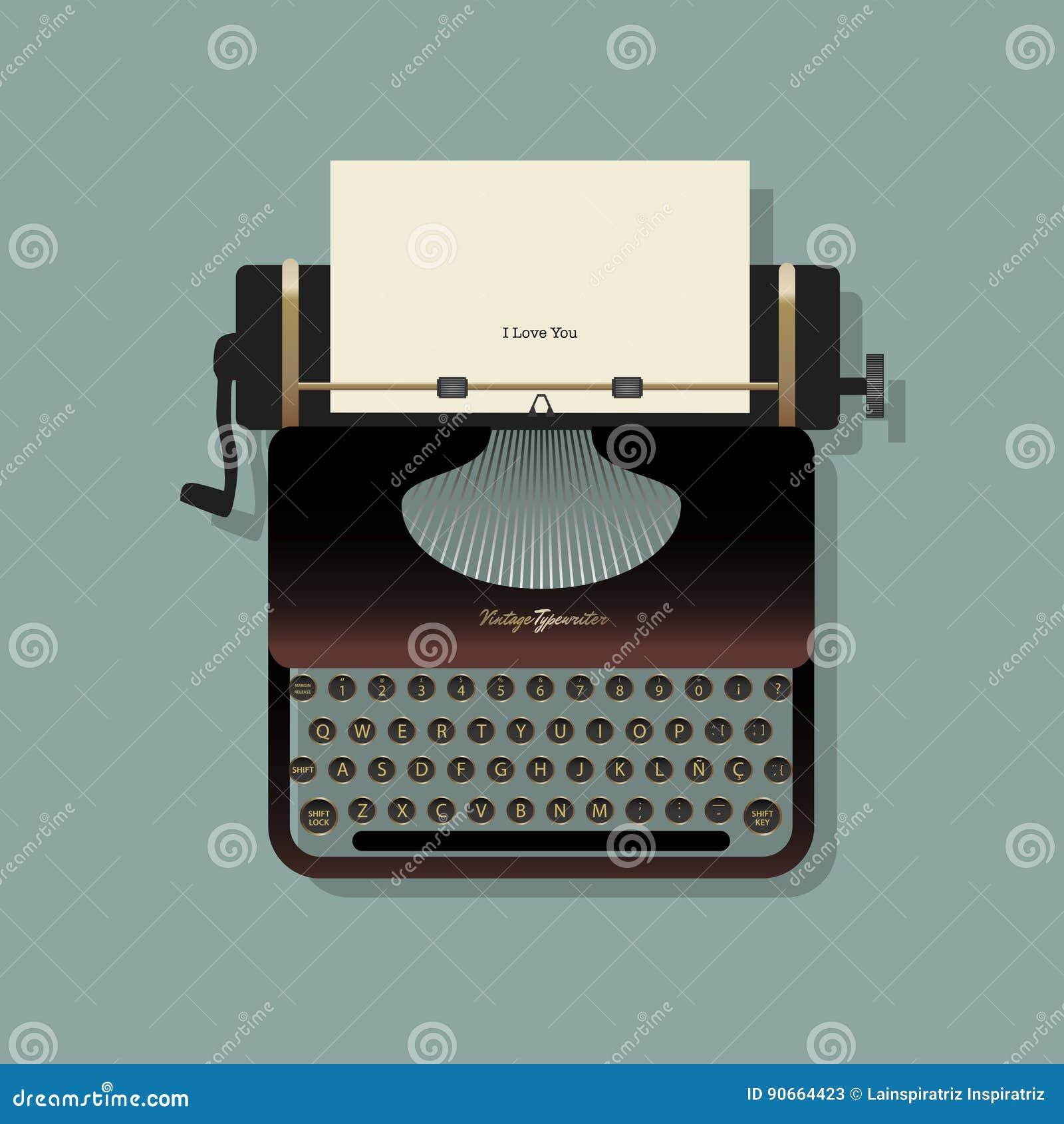 有纸片的老打字机和一则书面消息