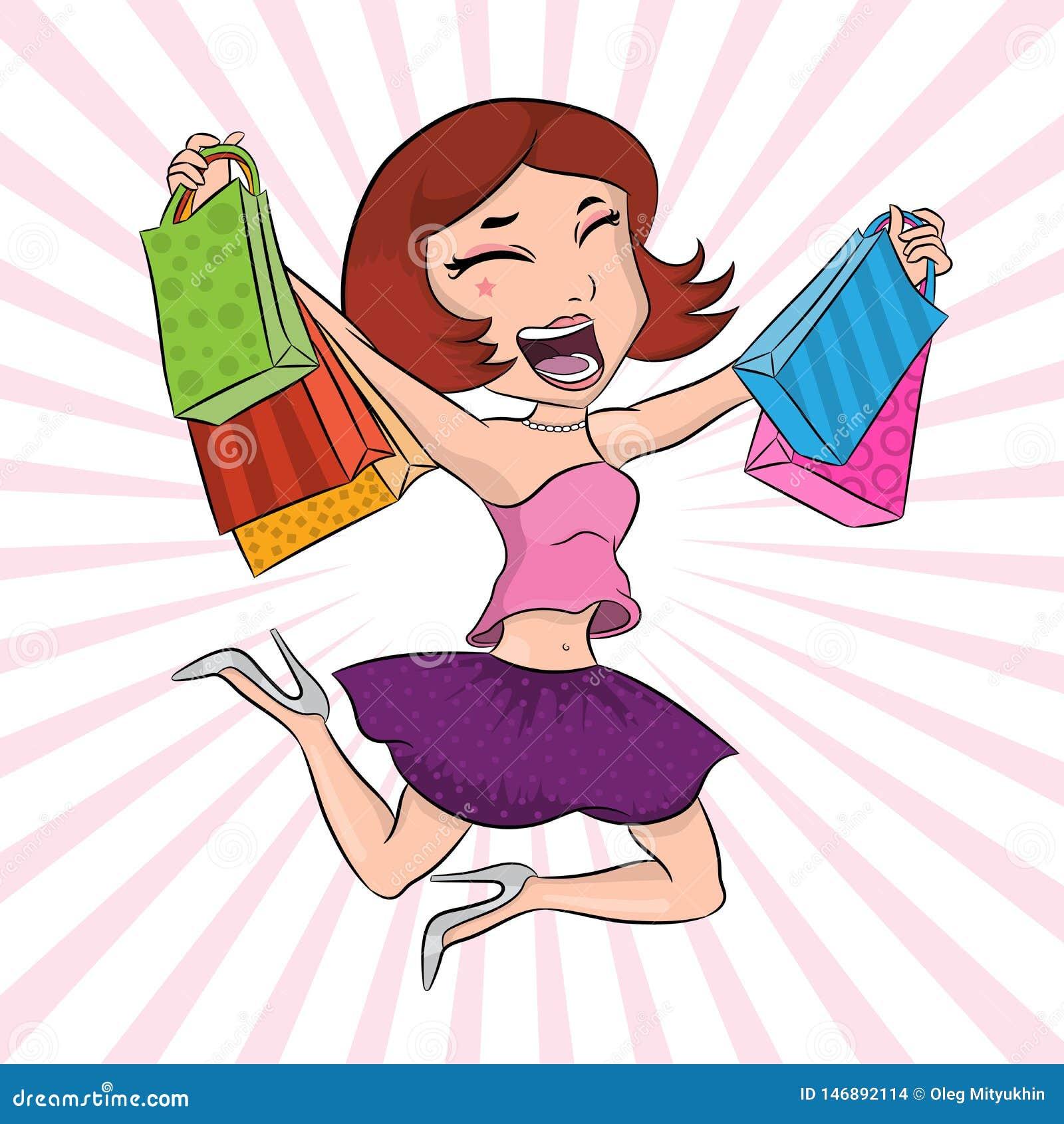 有纸袋的愉快的女孩在购物的跳跃和有以后乐趣、美女海报、时尚和样式横幅,俏丽的wom