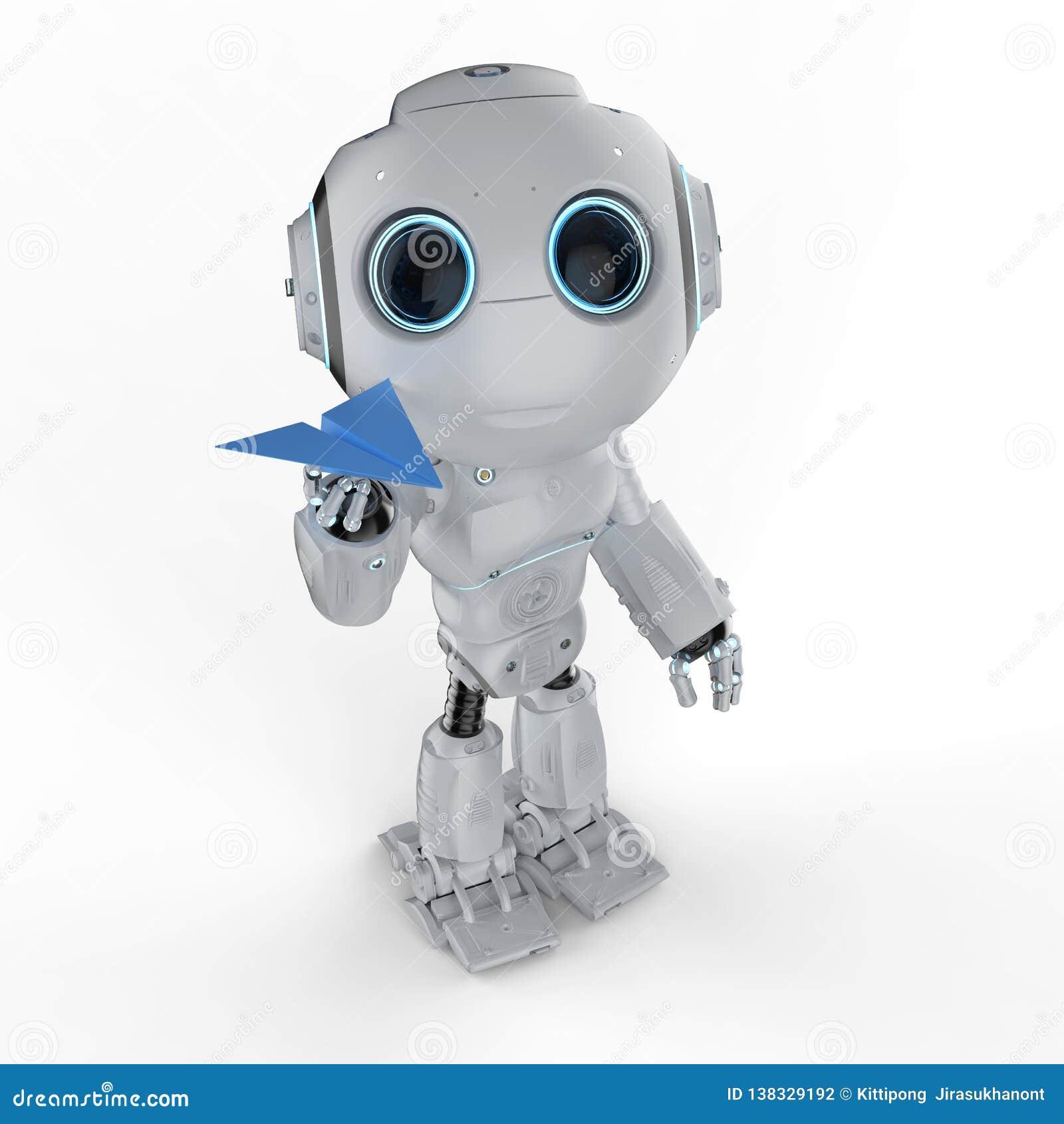 有纸飞机的机器人
