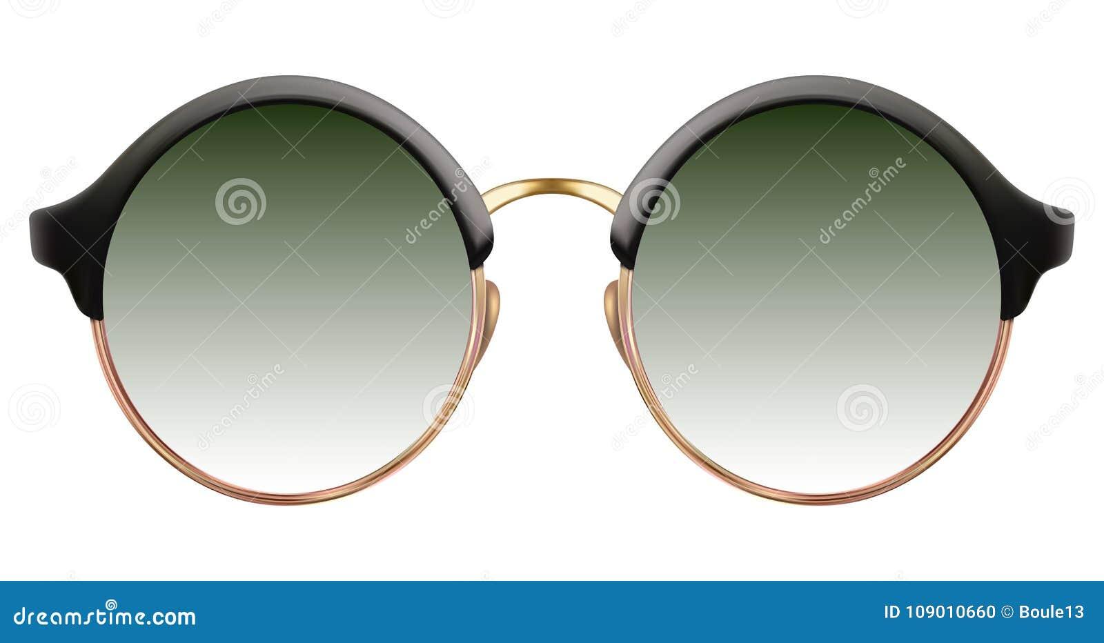 有绿色透镜和金金属框架的太阳镜