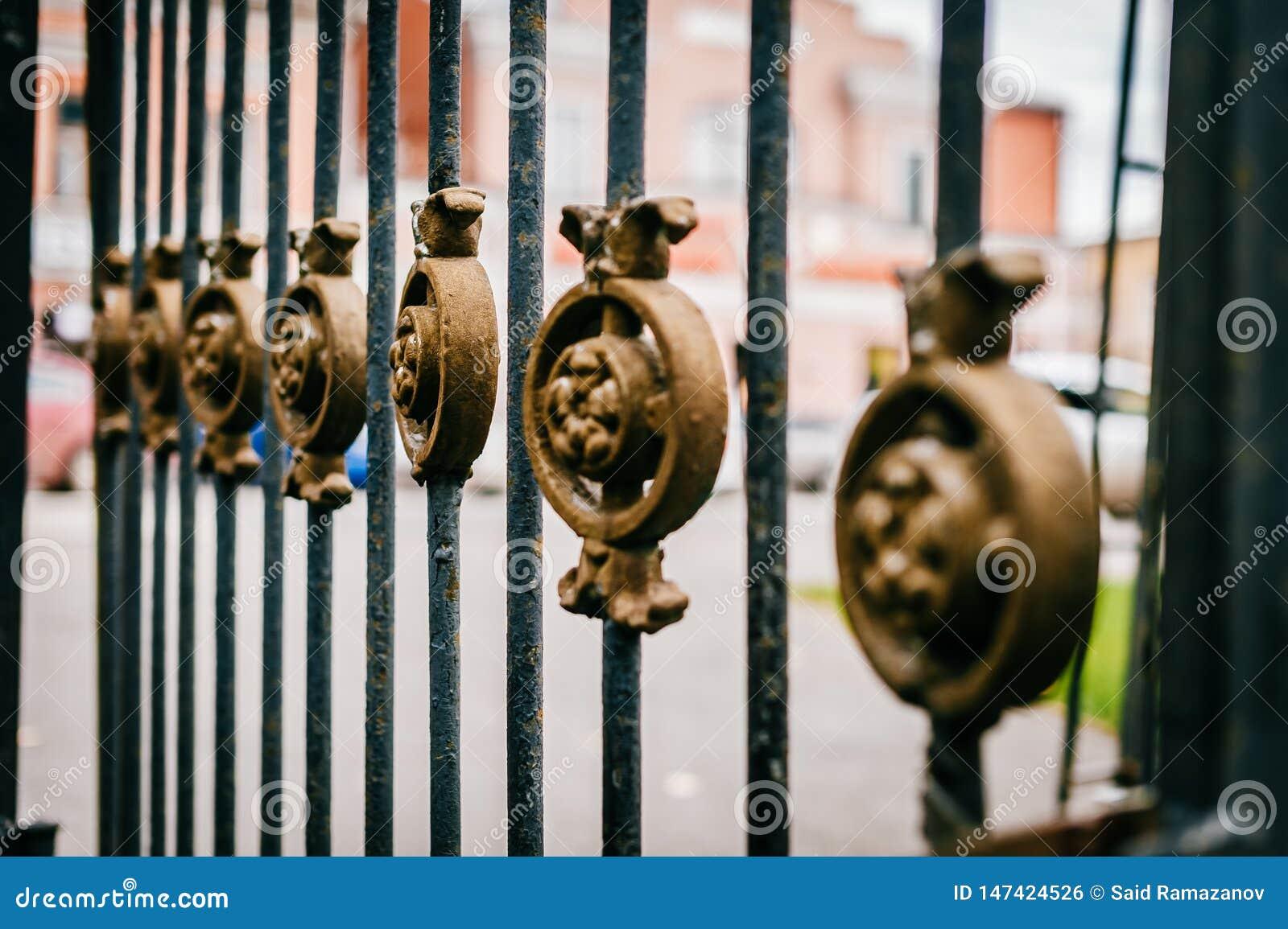 有美丽的古铜色装饰品的伪造的黑篱芭