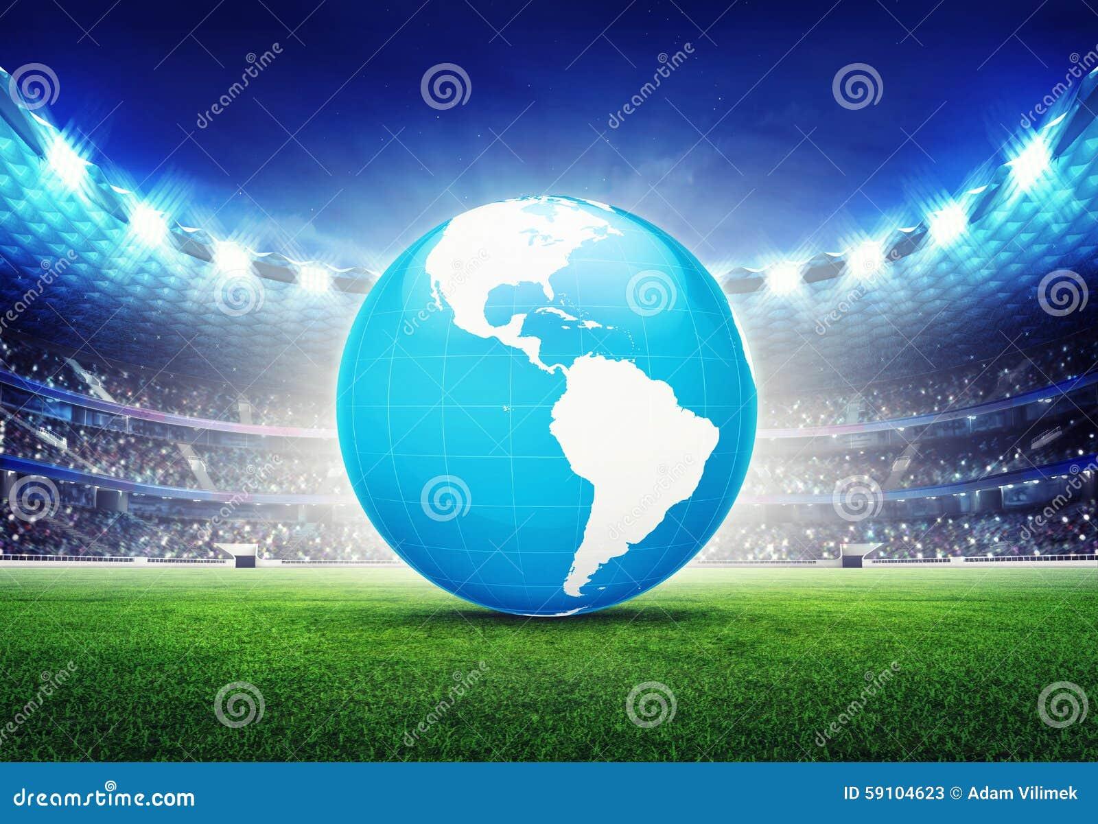 有美国地球地图的橄榄球场