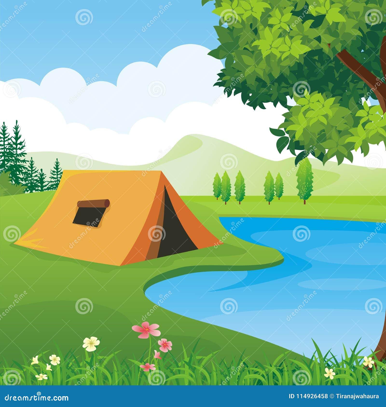 有美好的自然风景的露营地