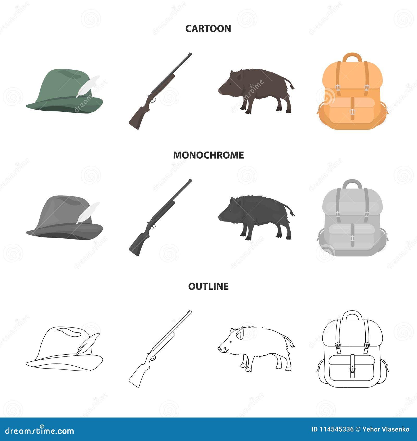 有羽毛的,一个野公猪,步枪,有事的一个背包狩猎帽子 寻找在动画片的集合汇集象