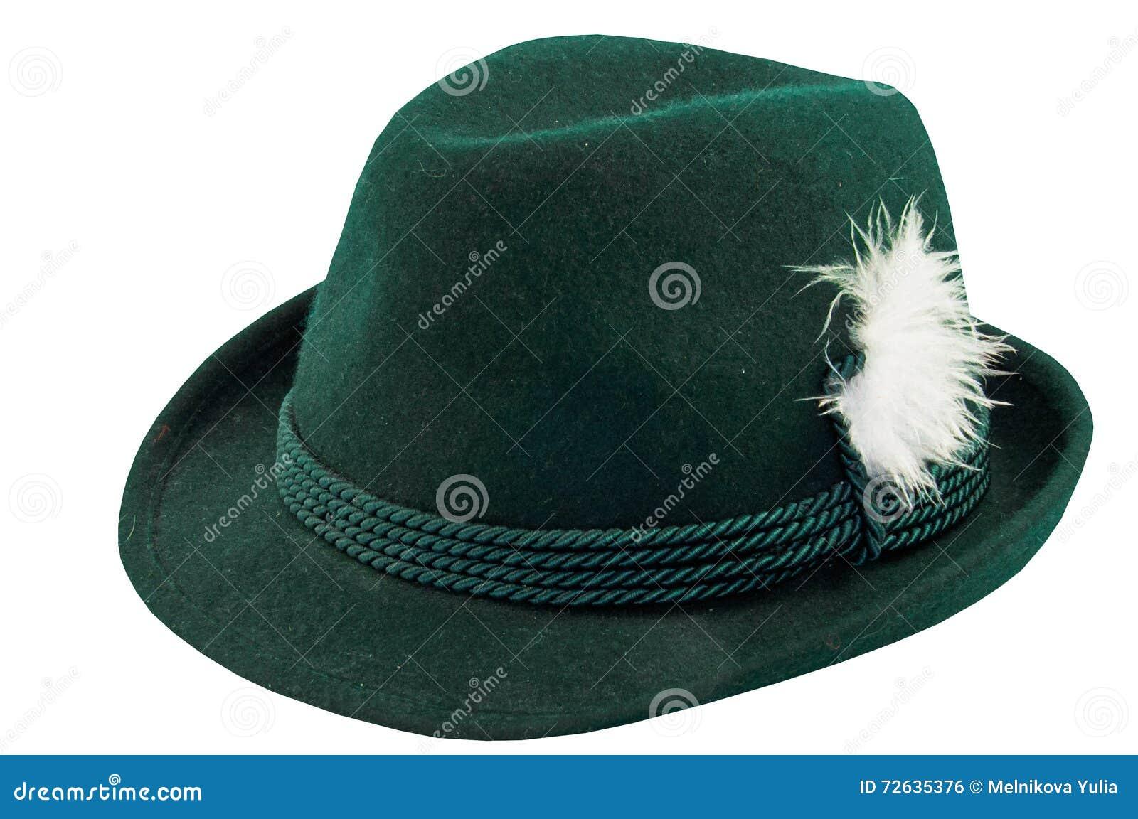 有羽毛的绿色帽子