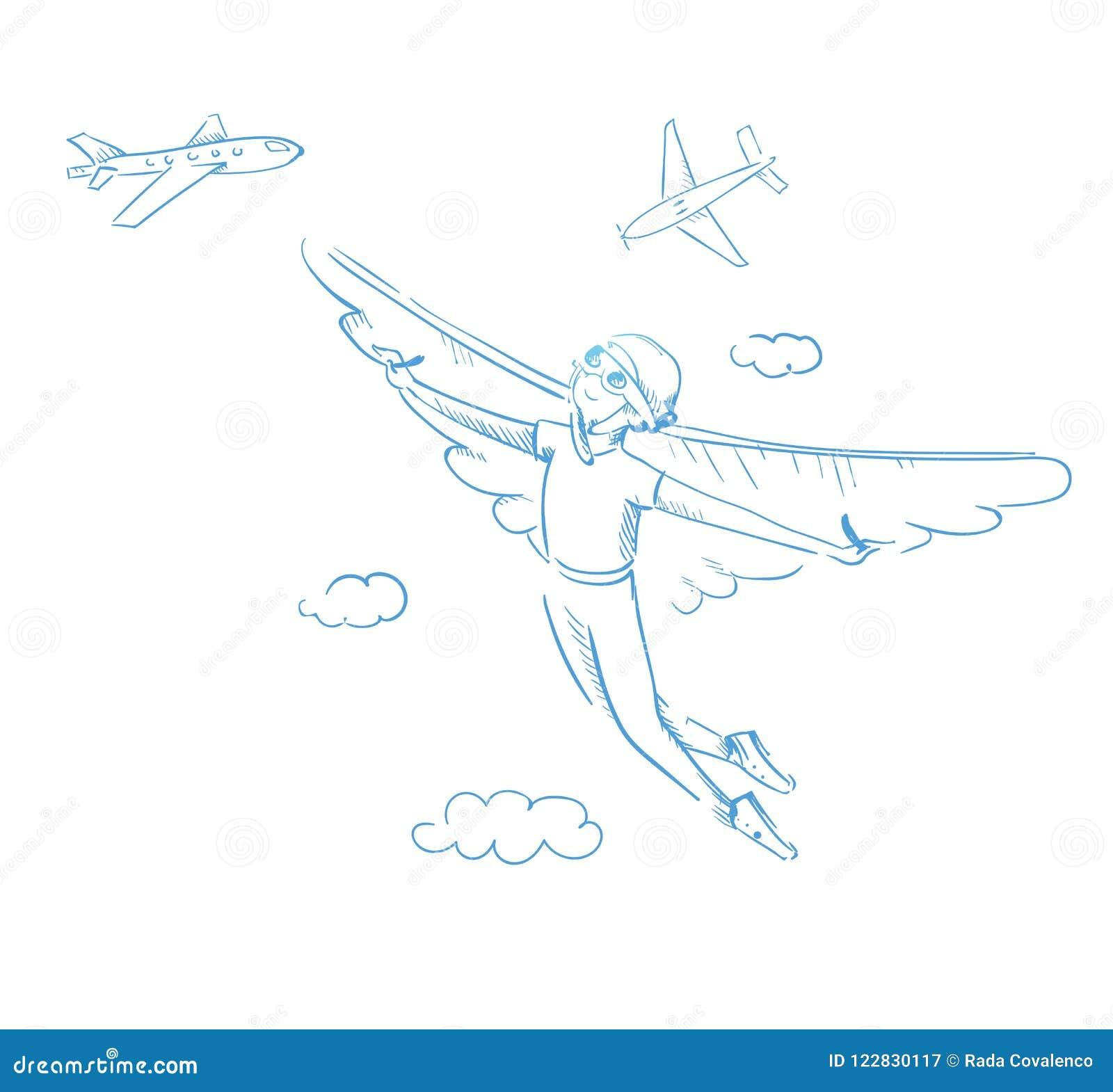 有翼的一个男孩 到达梦想