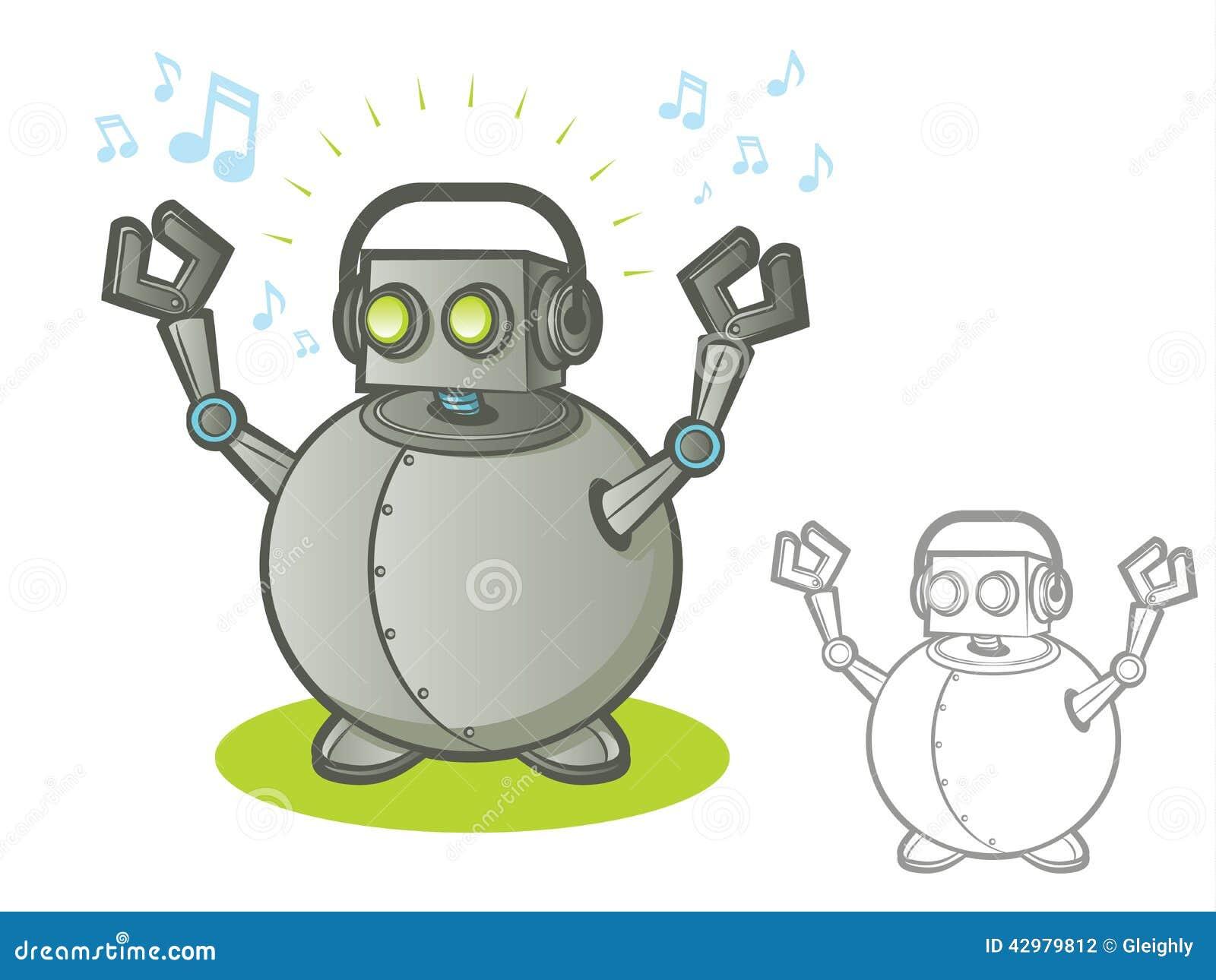 download 有耳机的机器人 向量例证.图片