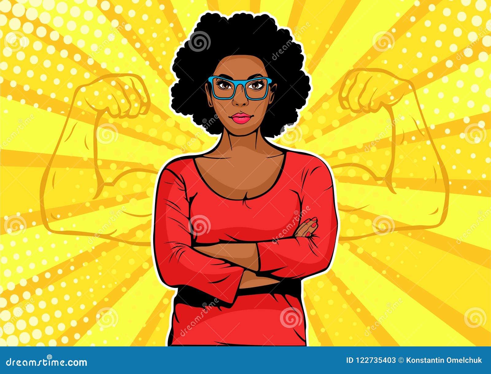 有肌肉流行艺术减速火箭的样式的美国黑人的女实业家 在可笑的样式的强的商人