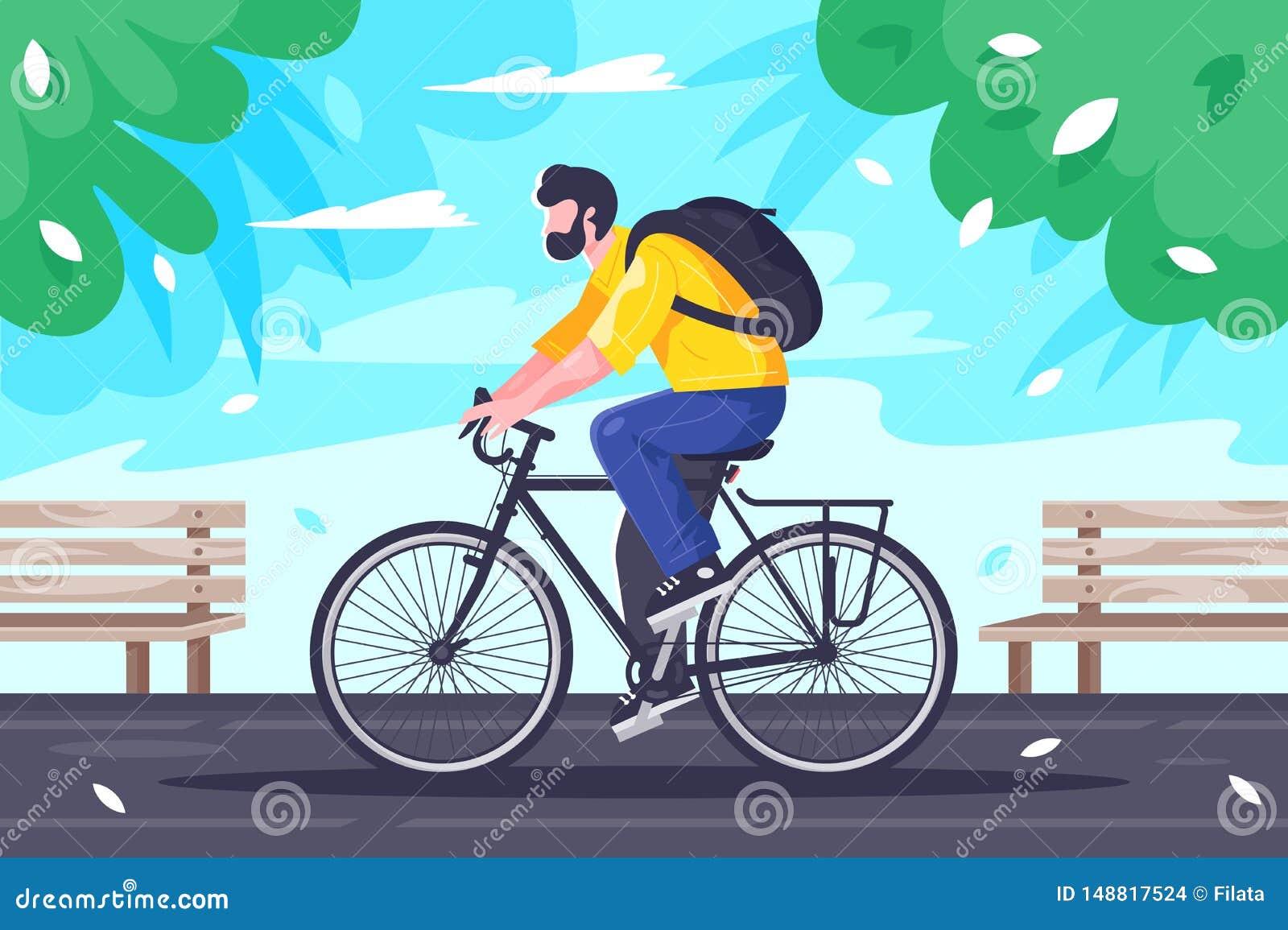 有背包乘驾的平的年轻人在循环在路