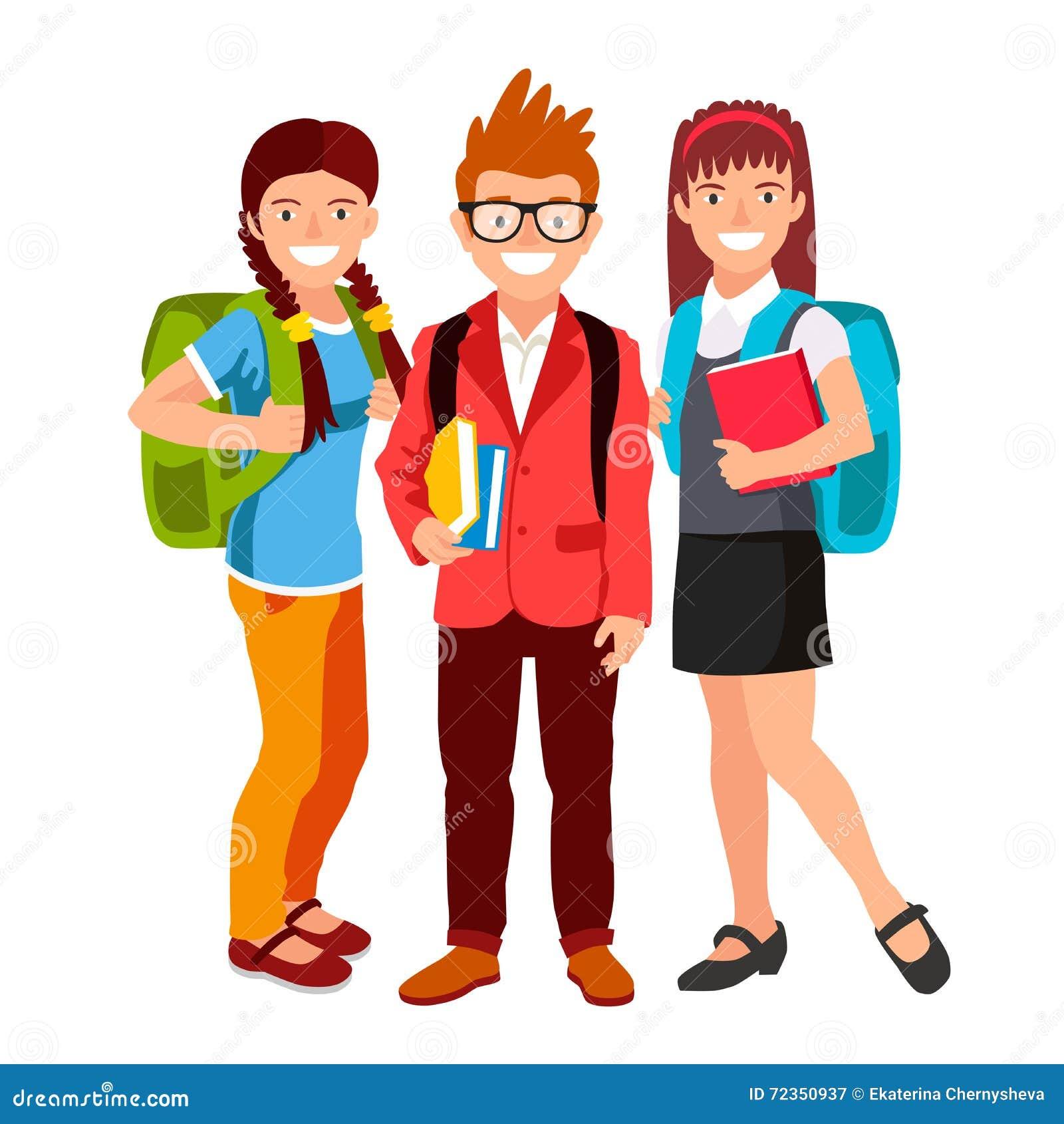 有背包和书的学生