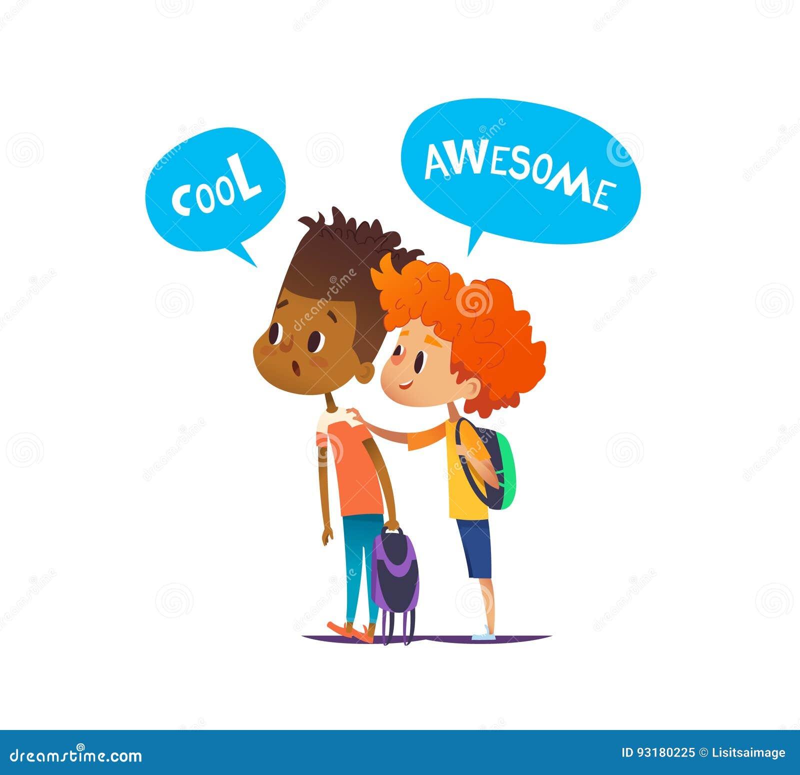 有背包的两个多种族男孩站立惊奇和惊奇 对学校朋友在一个的惊讶看